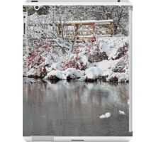 The pond, the snow, and the footbridge iPad Case/Skin