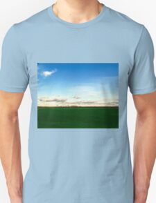 East Hampton Landscape on a Fall Day - Blue and Green T-Shirt
