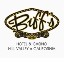 Biff's Hotel and Casino - Back to the Future (Black and Yellow) Kids Tee