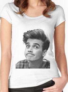 Joe Sugg (Black + White) Women's Fitted Scoop T-Shirt