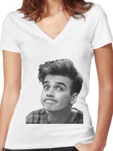 Joe Sugg (Black + White) Women's Fitted V-Neck T-Shirt