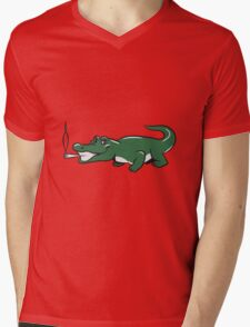 funny weed crocodile natural joint Mens V-Neck T-Shirt