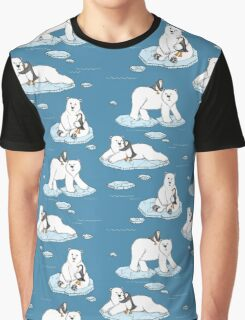 Polar Bear Loves Penguin Graphic T-Shirt