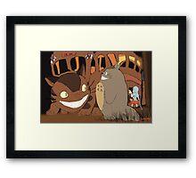 My Neighbour Totoro scene Catbus Framed Print