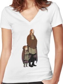 Qui Gon and Padawan Women's Fitted V-Neck T-Shirt