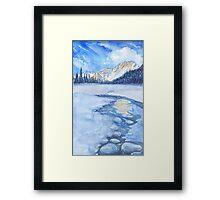 Winter mountain landscape. watercolor Framed Print