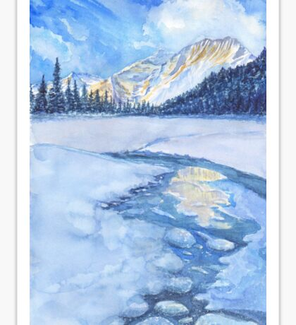 Winter mountain landscape. watercolor Sticker