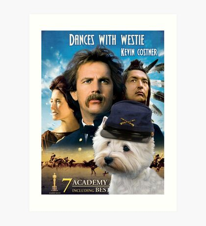 West Highland White Terrier Art - Dances with Wolves Movie Poster Art Print