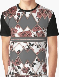 Pretty Rustic Roses and Rose Gold Geo Triangles Graphic T-Shirt
