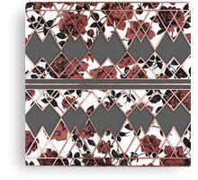 Pretty Rustic Roses and Rose Gold Geo Triangles Canvas Print