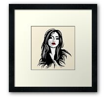 glamour girl with black hairs Framed Print