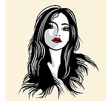 glamour girl with black hairs Photographic Print