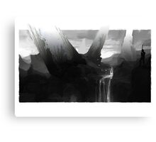 Waterfall Black and White Guard Canvas Print