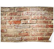 Weathered stained old brick wall  Poster