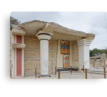 Knossos minotaur palace column with Minoan frescoes Canvas Print