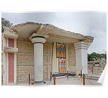 Knossos minotaur palace column with Minoan frescoes Poster