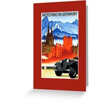 Vintage car travel Germany advert Greeting Card