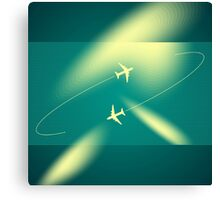 Background of flying planes Canvas Print