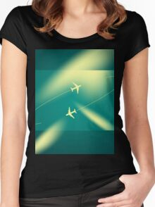 Background of flying planes Women's Fitted Scoop T-Shirt