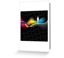 man with puzzle background Greeting Card