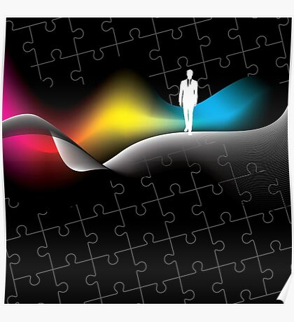 man with puzzle background Poster