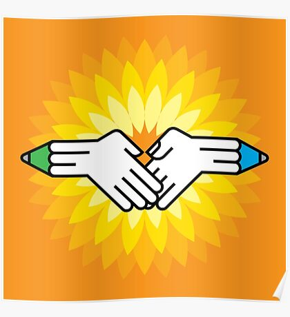 shake hands with pencil Poster