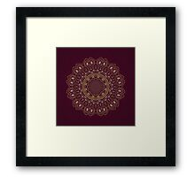 Gold Mandala Mosaic on Royal Red Background Framed Print