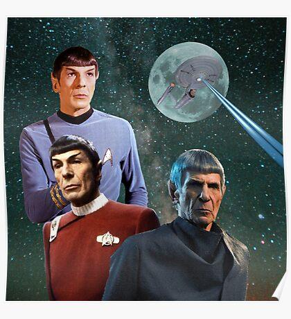 Three Spock Moon Poster