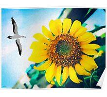 Soaring Bird Sunflower Poster