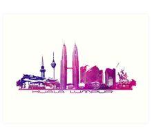Kuala Lumpur skyline purple Art Print