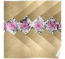 Gold stripes gray marble pink roses floral pattern Poster