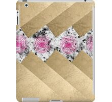 Gold stripes gray marble pink roses floral pattern iPad Case/Skin