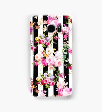 Black and white stripes bright pink roses floral Samsung Galaxy Case/Skin