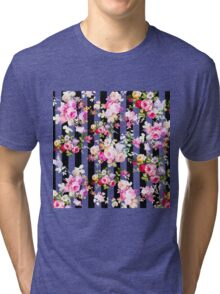 Black and white stripes bright pink roses floral Tri-blend T-Shirt