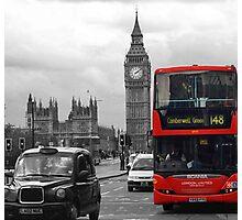 Big Ben and Double Decker Bus Photographic Print