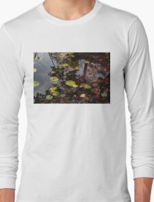 Fall Pond Reflections - a Story of Waterlilies and Japanese Maple Trees - Take One T-Shirt