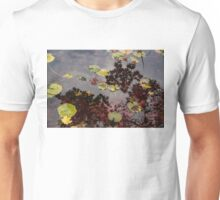 Fall Pond Reflections - a Story of Waterlilies and Japanese Maple Trees - Take Two Unisex T-Shirt