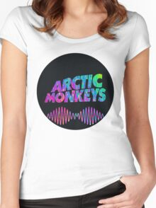 Arctic Monkeys - Logo (Psychedelic / Black)  Women's Fitted Scoop T-Shirt