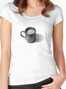 Coffee Time: Mug with Coffee: Pencil Drawing Women's Fitted Scoop T-Shirt