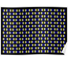 Pattern of blue and yellow squares with black background. Poster