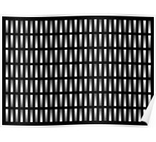 Pattern of grey rectangles with black background. Poster