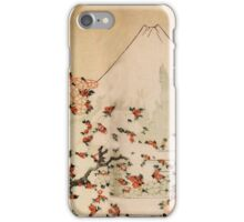 'Mount Fuji Behind Cherry Tree and Flowers' by Katsushika Hokusai (Reproduction) iPhone Case/Skin