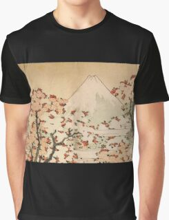'Mount Fuji Behind Cherry Tree and Flowers' by Katsushika Hokusai (Reproduction) Graphic T-Shirt