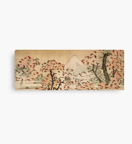 'Mount Fuji Behind Cherry Tree and Flowers' by Katsushika Hokusai (Reproduction) Canvas Print