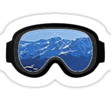 Mountain Ski Goggles Sticker Sticker