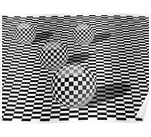 Black and white illustration with balls on a chessboard Poster