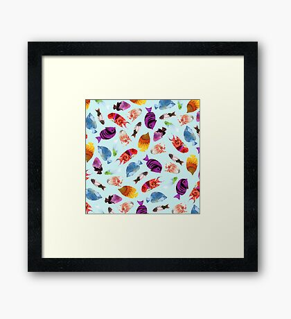 Fish shaped Flowers Framed Print