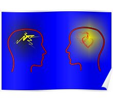 Head Silhouettes with heards and flashes and a blue background Poster