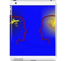 Head Silhouettes with heards and flashes and a blue background iPad Case/Skin