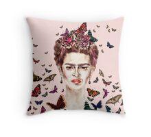 Frida Kahlo Flowers Butterflies Throw Pillow
